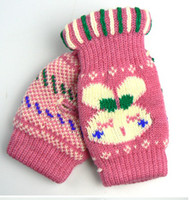 Wholesale Lovely Rabbit Design Gloves Lady s Winter Fingerless Knitted Gloves Hand Wrist Keyboard Mitten pairs