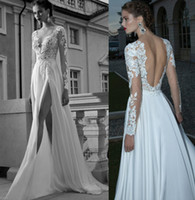 A-Line Reference Images V-Neck A-line Deep V-Neck Side slit Sexy Backless Wedding Dress Sheer Sleeve Applique Chiffon Berta Bridal Winter Long Sleeve Wedding Dresses Gowns