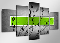 More Panel Oil Painting Abstract Framed 5 Panel Large Textured Framed Green Paintings 5 Piece Canvas Wall Art Flower Pictures Interior Decoration XD01858