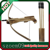 archery set toy - Hunting Bow Crossbow W Arrow Quiver Wood Kid Children Youth Cross Bow Toy Gun Set Wooden Archery Crossbow