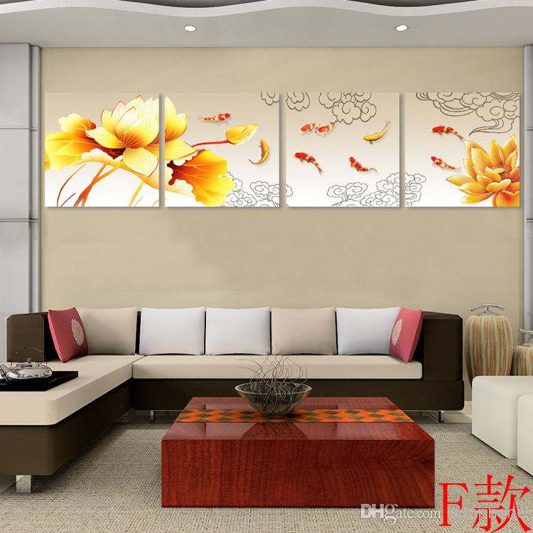 Online Cheap Framed 4 Panel Large Chinese Koi Fish Canvas