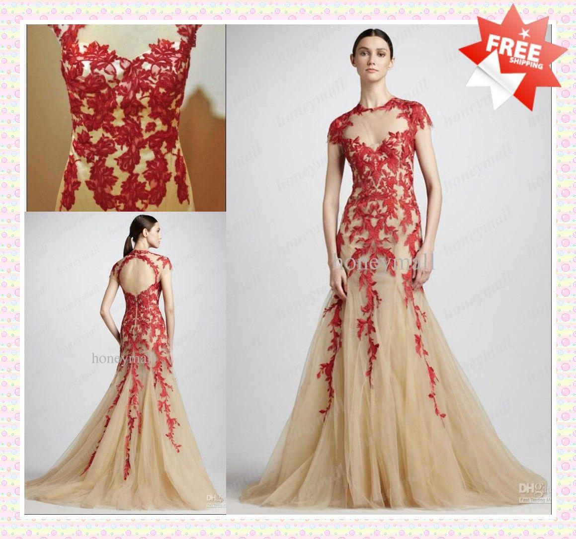 Red and Champagne Wedding Dress_Wedding Dresses_dressesss