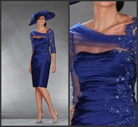 online shopping - 2014 Beach Mother of the Bride Dresses A line Royal Blue Ruffles V neck Knee Length Wedding Party Guest Gown Shop Online