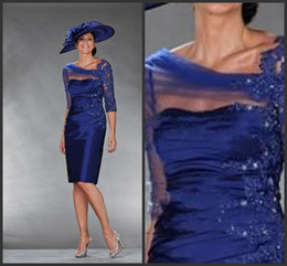 2014 Beach Mother of the Bride Dresses A-line Royal Blue Ruffles V-neck Knee Length Wedding Party Guest Gown Shop Online
