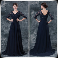 Wholesale 2014 Navy Blue Long Lace Sleeve Floor Length Chiffon Mother Of The Bride Dresses Long Beaded Wedding Party Gowns