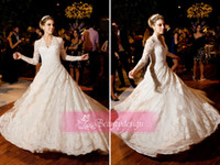Wholesale 2014 New arrival full lace ivory A line wedding dresses V neck long sleeves sweep train winter bridal gowns BO3590