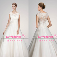 Ball Gown ab sleeves - 2014 Luxury Ball Gown Wedding Dresses Sexy Illusion Crew Neck Cap Sleeve Applique Lace Tulle Chapel Train Summer Beach Bridal Gowns AB