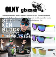 PC Fashion Rectangle Wholesale - 10pcs qjq696 Free Shipping SPY OPTIC + KEN BLOCK HELM Cycling Sports Sunglasses Outdoor Sports Sunglasses men Sun Glasses