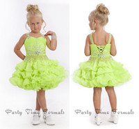 Wholesale Pretty Great Apple Green Spaghetti Lace Up Ball Gown Organza Ruffles Mini Short Little Girl Pageant Dress Formal Party Evening Gowns For Kid