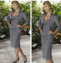 Wholesale 2014 Dark Gray Short Mother of the Bride Dress Free Jacket Stock sweetheart long sleeve satin sheath column