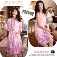 Wholesale Nightgown female long sleeve cotton spaghetti strap autumn and winter thin spring and autumn sleepwear twinset modal plus
