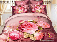 Wholesale New Sexy modern pink roses red print queen d cotton comforter set bedding set bed sets linens bedroom sets bedspreads coverlet