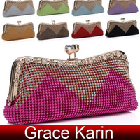 Wholesale 9 colors GK Women s Aluminum Beads Rhinestone Clutch Evening Bag Handbag Shoulder Bag GZ642