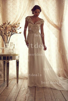 Sexy A- line Bridal Gowns V- neck Sheer Back Vintage Wedding D...