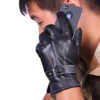 driving gloves - S5Q Men s Five Fingers Gloves Black Winter Warm Driving Gloves PU Leather Fashion AAACVV