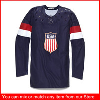 Cheap Ice Hockey blue jerseys Best Men Full 2014 Olympic