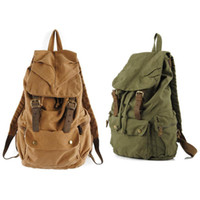 Wholesale S5Q Men s Vintage Canvas Leather Hiking Travel Military Backpack Messenger Tote Bag AAACVC