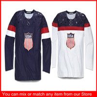 Ice Hockey Men Full 2014 Sochi Winter Olympics Team USA Blank Men's Ice Hockey blue white Jerseys Home&Away american Jerseys