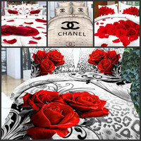 Adult Twill Polyester / Cotton Hot! Reactive printed 3d bedding set cotton queen full size bedclothes duvet cover red black rose coverlet bed linen 3d 800TC