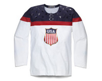 Ice Hockey Men Full 2014 Sochi Winter Olympics Team USA Blank Mens Ice Hockey White Jerseys Away american Jerseys