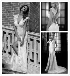 Wholesale Galia Lahav Collection Lace Wedding Dresses Vintage Plunging V Neck Cap Sleeve Backless Wedding Dress Sexy High Slit Wedding Gowns