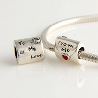 Silver Hearts, Love Red 925 Sterling Silver Enamel Envelope Jewelry With Red Heart To My Love From Me Bead Charm Fit European Bracelets