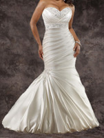 Wholesale 2014 Distinctive Mermaid Wedding Dresses Crystal Beaded Sweetheart Neck Side Pleats Lace Up Court Train Satin Bridal Dress Gowns