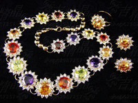 Wholesale European and American popular colorful crystal jewelry sets gold plated chain necklace sunflowers wedding dress bridal accessories