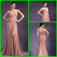 Reference Images Halter Chiffon Stylish Crystal Beads Neckline Halter Evening Gowns Ruched Front Slit Court Train Chiffon Sheath Column Evening Dresses
