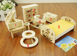 Wholesale Cute Gift Childrens Kid Cartoon Lovely Very Mini Rocking Horse Piano Wooden Wood Dollhouse Furniture Toy Set