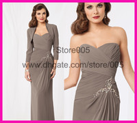 Wholesale Grey Beaded Chiffon Long Sleeve Sweetheart Mother Of The Bride Formal Dresses With Jackets M2064
