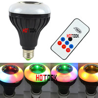 Wholesale MP3 Music E27 LED Bulb W RGB Colorful Wireless Bluetooth Speaker Projector stage Lamp Remote Control Version CE ROHS