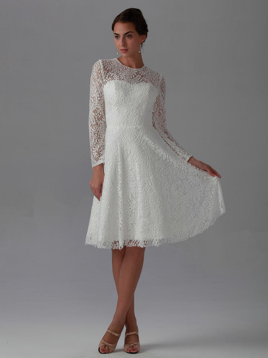 2015 new best elegant a line knee length long sleeve lace for Knee high wedding dresses