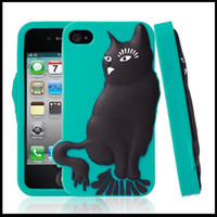 Wholesale Lovely cat shaped soft silicone phone case cover for iphone4s cell phone cases