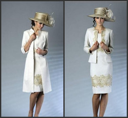 2014 New ivory satin with gold lace knee-length mother of the bride dresses and jacket bolero free shipping fashion modern
