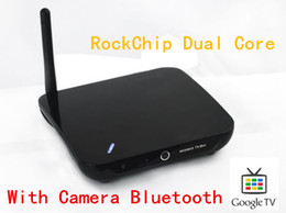 Wholesale With Camera Android Smart TV BOX RK3066 with Adobe flash and HTML P HD video WiFi A9 G MaLi GPU MSN Skype Videocal