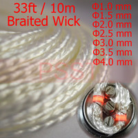 Wholesale 33ft m High Quality Braided Ekowool Silica Wick Rope String for E Cigarette Atomizer sizes TT1911