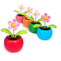 Wholesale S5Q Solar Powered Flip Flap Flower Car Geek Toys Swing Dancing Flowerpot Gift AAAARV