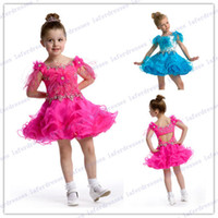Wholesale Hot Selling Beautiful Jewel Mini Blue Ball Gown pageant dresses for girls with Beads Ruffles little girl princess dresses