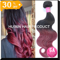 Wholesale Red Ombre Hair Weave Extension Peruvian Brazilian Hair Weave A Body Wave Human Hair Mix Length Ombre Hair A