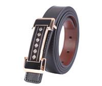 1PCS Rhinestone Buckle Black Genuine Leather Belt Ladies Wai...