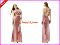 Wholesale 2014 New Arrival Halter A line Beaded Sequins Fabric jasmine Prom Evening Dresses Cheap Long Colorful Formal Party Dress Gowns W167020