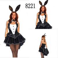 Wholesale Sexy Black Bunny Girl Suit Size M XL Halter Sexy Costumes Lingerie Dress