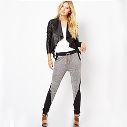 Wholesale New Arrival Slim Leisure Pant Black Grey Hit Color Straight Cotton Blended European Style Autumn Spring Tops Women s Pants A825