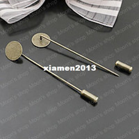Wholesale Brooch Diy Findings Pin Back paste size MM Brass Antique Bronze Sharp Tip Flat Pad with Stopper Brooch Pin