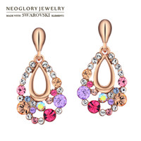 Wholesale Neoglory MADE WITH SWAROVSKI ELEMENTS Rhinestone K Gold Plated Colorful Drop Earrings for Women Girls Fashion Gift