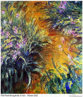 Wholesale Artist Oil Paintings Art Reproduction of Claude Monet the Path through the Irises on Canvas No Frame Artwork Use House Decoration Hot Sale