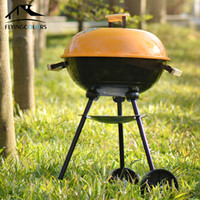 Wholesale High Quality Outdoor Trolley Carbon Steel BBQ Grill W Powder Coated TLCG