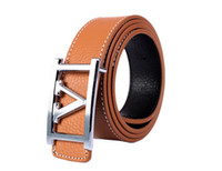 1PCS Fashion Silver V- Buckle Brown Genuine Leather Belt Wais...