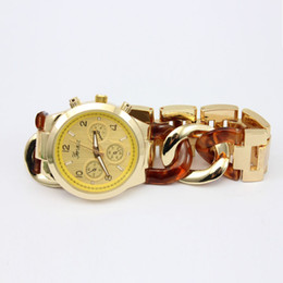 Wholesale Stainless Steel Cowboy Bracelet - 2015 Colorful Unisex Geneva stainless steel cowboy chain watch fashion men women quartz wrist bracelet metal sport watches 4 colors 100PCS